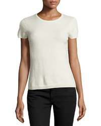 Neiman Marcus Cashmere Short Sleeve Pullover Top Ivory
