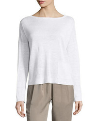 Eileen Fisher Classic Long Sleeve Lightweight Box Top