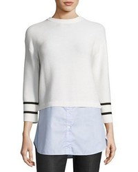 St. John Collection Link Stitch Knit Sweater W Oxford Shirt