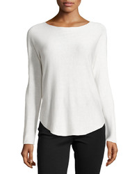 Neiman Marcus Dolman Sleeve Pullover Sweater Cotton White
