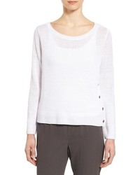 Eileen Fisher Bateau Neck Organic Linen Sweater