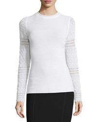 Elie Tahari Theresa Long Crochet Sleeve Merino Sweater
