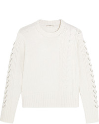 Edun Embellished Cable Knit Wool Sweater