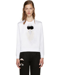 Fendi White Cropped Karlio Sweater
