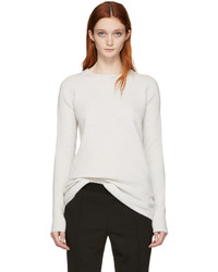 Haider Ackermann Off White Ribbed Crewneck Sweater