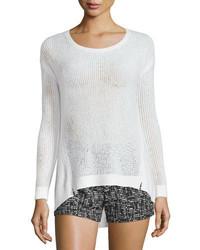 Alice + Olivia Harpo Angled Mesh Knit Sweater White