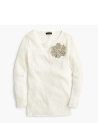 J.Crew Italian Linen Blend Ribbed Crewneck Sweater With Sequins