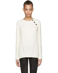 PIERRE BALMAIN Ivory Buttoned Sweater