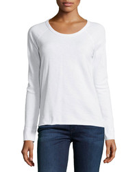 James Perse Rolled Hem Raglan Sleeve Pullover White