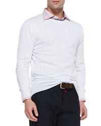 Kiton Cotton Long Sleeve Sweater Whitenavy