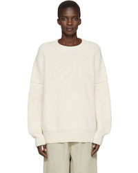 LAUREN MANOOGIAN Off White Alpaca Fisherman Sweater
