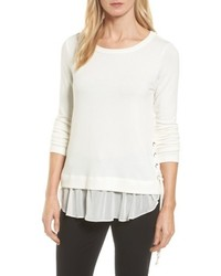 Karen Kane Layer Look Lace Up Sweater