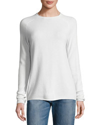 Vince Lightweight Cashmere Rolled Hem Sweater Winter White