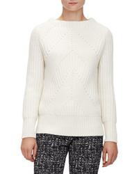 Burberry London Ribbed Transfer Jewel Neck Sweater Natural White