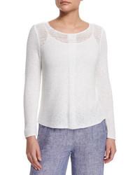Nic+Zoe Long Sleeve Sheer Illusion Sweater Top Petite