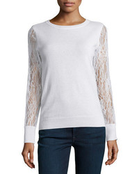 Magaschoni Cashmere Lace Sleeve Sweater
