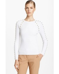 Michael Kors Michl Kors Studded Cotton Blend Sweater White Large