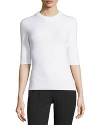 Michael Kors Michl Kors Collection Half Sleeve Shaker Sweater White