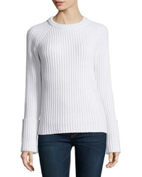 Michael Kors Michl Kors Collection Long Sleeve Ribbed Sweater White