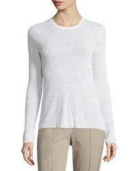 Michael Kors Michl Kors Collection Long Sleeve Scoop Neck Top White