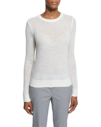 Michael Kors Michl Kors Long Sleeve Semisheer Sweater White