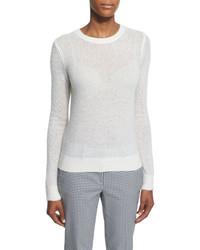 Michael Kors Michl Kors Long Sleeve Semisheer Sweater White