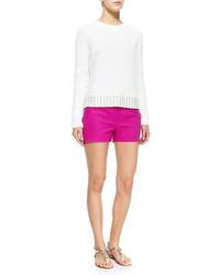 MICHAEL Michael Kors Michl Michl Kors Crewneck Sweater With Studded Hem White