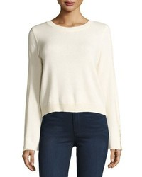Ramy Brook Misha Shredded Trim Sweater Ivory