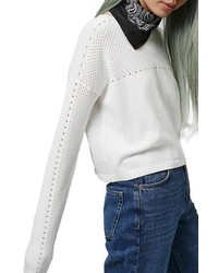 Topshop Mixed Pointelle Crop Sweater