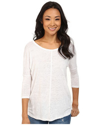 Mod-o-doc Knit Linen Easy Seamed Scoop Neck Pullover