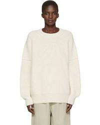 LAUREN MANOOGIAN Off White Alpaca Fisherman Sweater