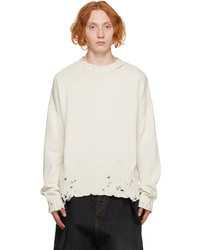 Marni Off White Distressed Logo Sweater