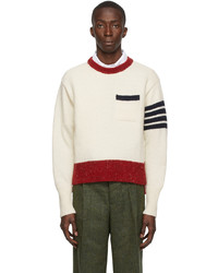 Thom Browne Off White Mohair Jersey Stitch 4 Bar Pullover Sweater