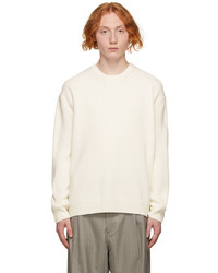 Solid Homme Off White Rib Knit Sweater
