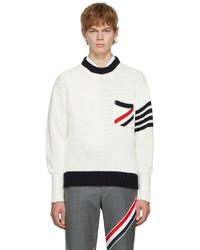 Thom Browne Off White Rwb 4 Bar Stripe Sweater