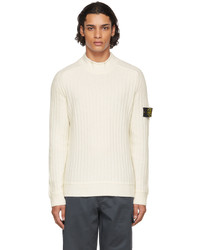 Stone Island Off White Wool Ribbed Sweater