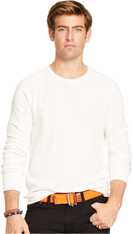 Polo ralph lauren waffle knit crew neck shirt where to for Crew neck sweater with collared shirt