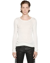 Faith Connexion Ribbed Cotton Jersey Long Sleeve T Shirt