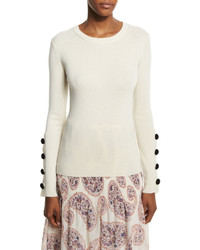 See by Chloe Wool Button Trim Pullover Sweater Off White