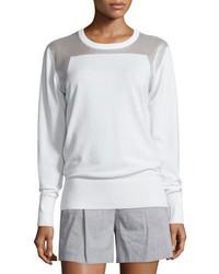 DKNY Sheer Trim Pullover Sweatshirt White