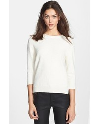 Theory Rainee Crewneck Terry Sweater White Petite