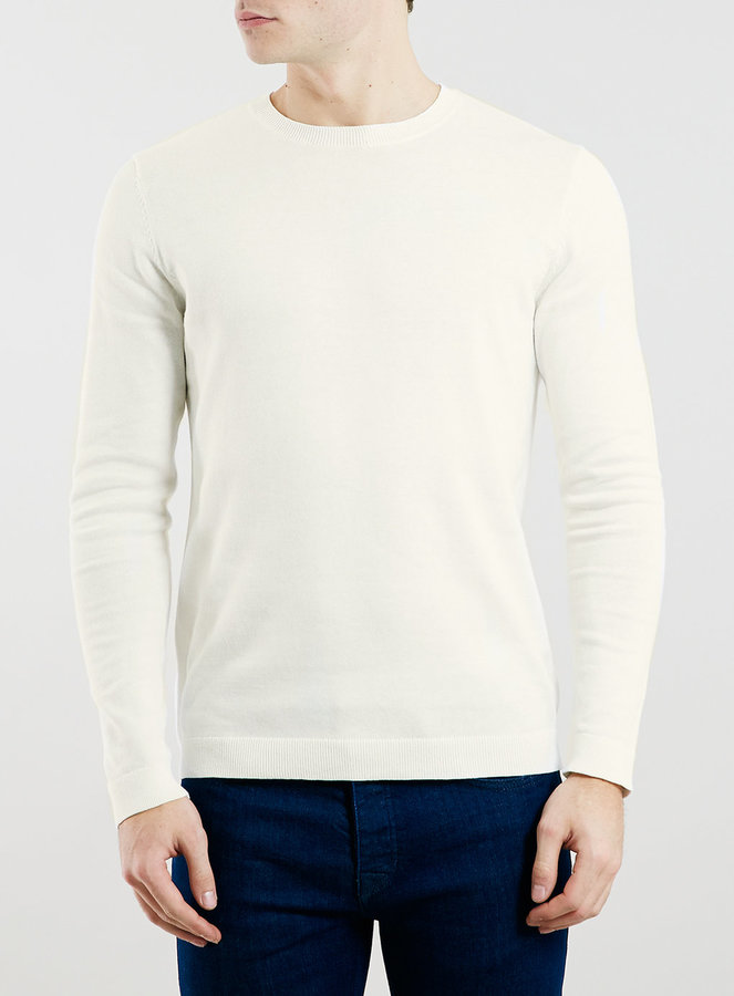 Topman White Cotton Classic Crew Neck Sweater | Where to buy & how ...