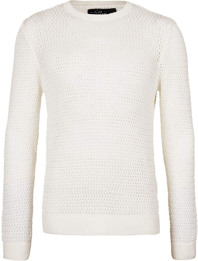 Topman White Open Mesh Sweater