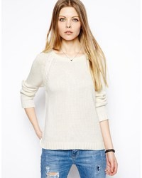 Vila Cable Knit Sweater White