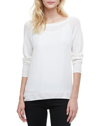 Vince Mixed Fabric Long Sleeve Sweater White