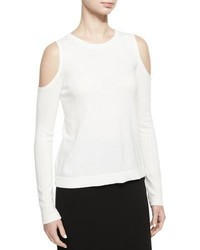 Alice + Olivia Wade Cold Shoulder Pullover Sweater White
