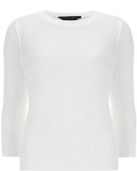 Dorothy Perkins White All Over Stitch Jumper