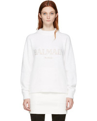 Balmain White Angora Logo Sweater