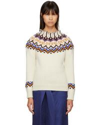 Loewe White Jacquard Logo Sweater