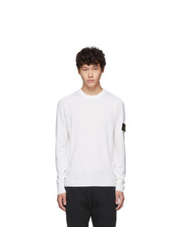 Stone Island White Knit Crewneck Sweater